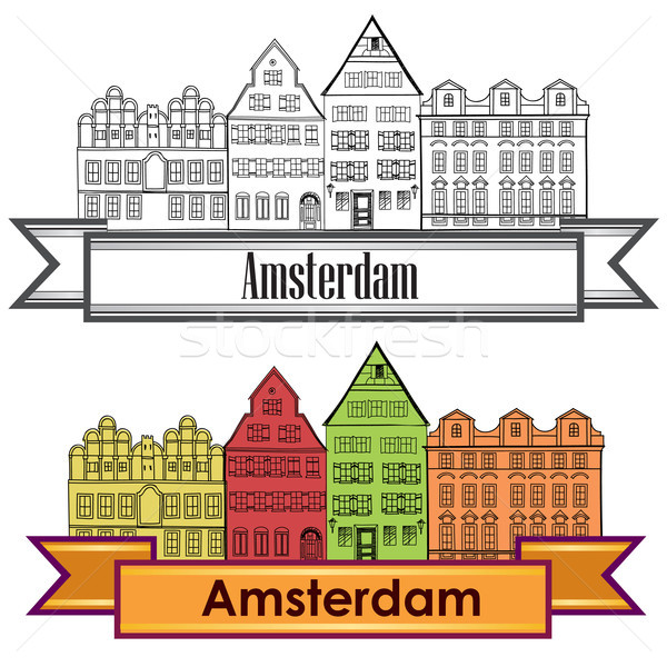 Amsterdam canal houses. Netherlands symbol. Travel Europe icon. Stock photo © Terriana