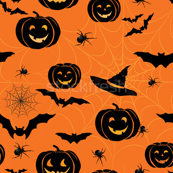 Happy Halloween seamless pattern. Holiday party background with  Stock photo © Terriana