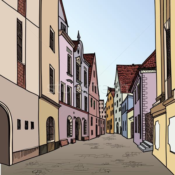 óváros sziluett gyalogos utcakép öreg város Stock fotó © Terriana