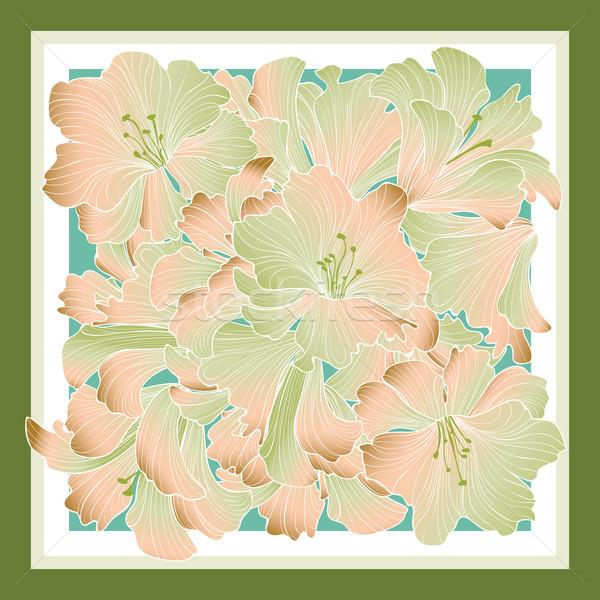 Floral pattern decor for silk tiussiue. Delicate color flower de Stock photo © Terriana