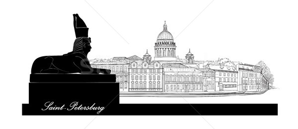 St. Petersburg city, Russia. Saint Isaac's cathedral skyline with Egyptian Sphinx monument Stock photo © Terriana