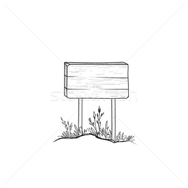 Signboard sketch. Doodle wooden road sign. Plank signpost Stock photo © Terriana