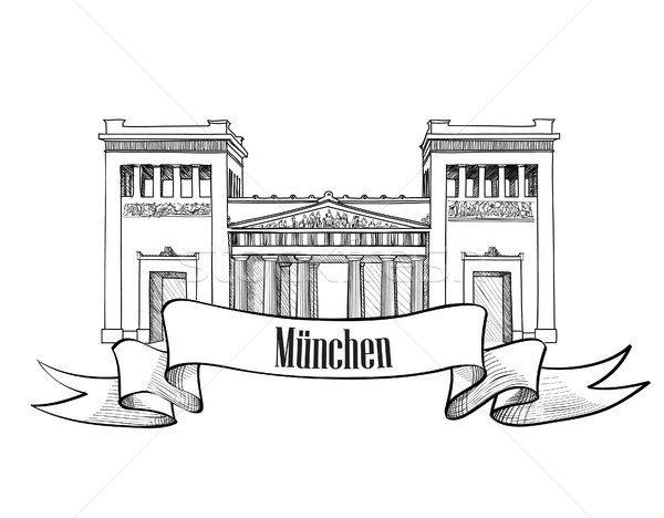 Munich famous city place Gateway (Propylaea), Germany. travel landmark building facade engraving ske Stock photo © Terriana