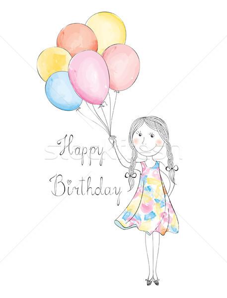 Dziewczyna balony urodziny wakacje kartkę z życzeniami powitanie Zdjęcia stock © Terriana