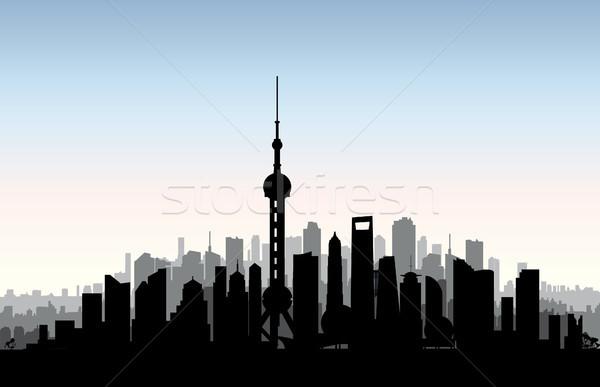 Shanghai city skyline. Chinese urban landscape. Shanghai citysca Stock photo © Terriana