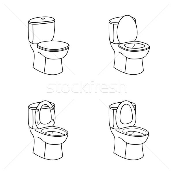 Toilettes croquis signe bol siège ligne Photo stock © Terriana