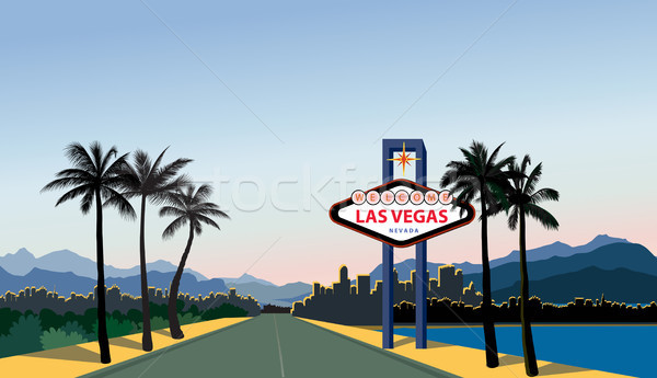 Las Vegas city skyline. Travel USA background. Landscape with La Stock photo © Terriana