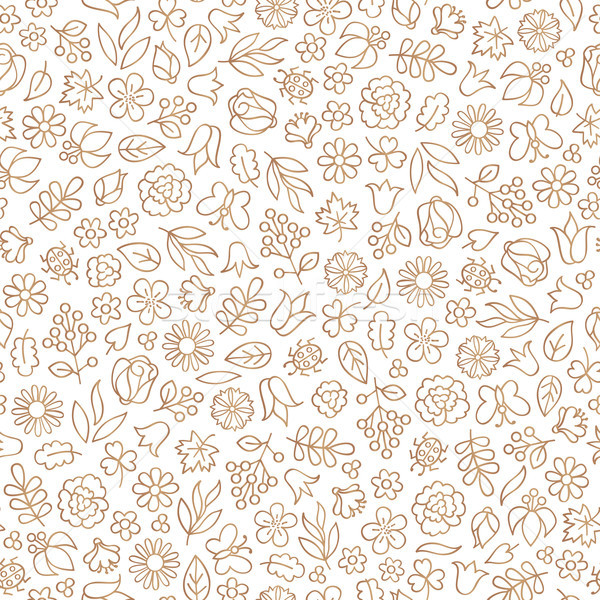 Stock photo: Floral leaf seamless pattern.  Flower icon background. Summer na