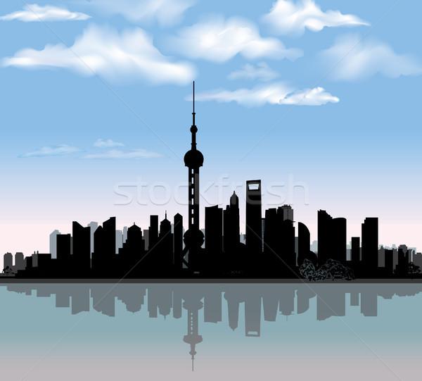 Shanghai city skyline. Chinese urban landscape. Shanghai cityscape Stock photo © Terriana