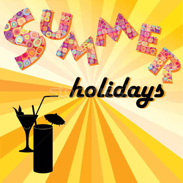 Hello summer background. Summer holidays cover with sun and ray beams. Hello summer greeting card. Stock photo © Terriana