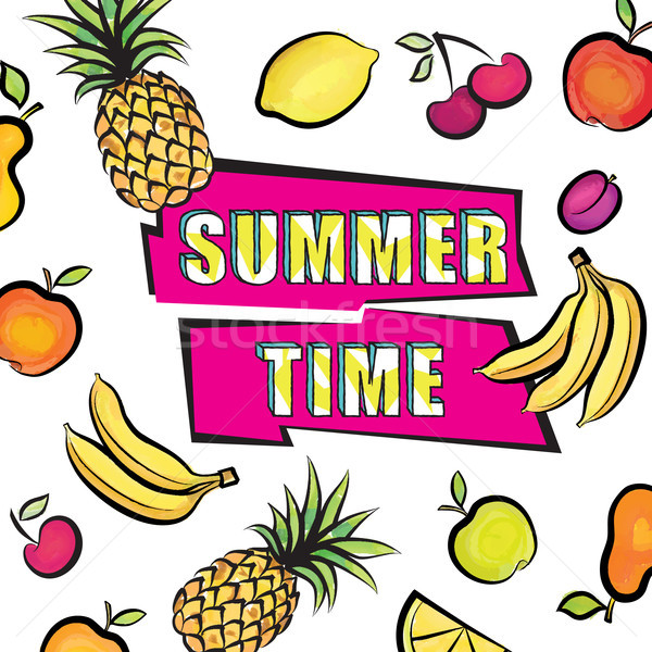 Summer time card background. Tropical fruit set pattern Stock photo © Terriana