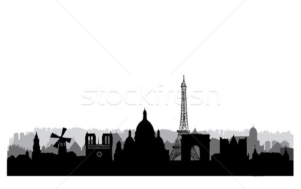 Paris skyline. Paris cityscape with famous landmarks and buildin Stock photo © Terriana