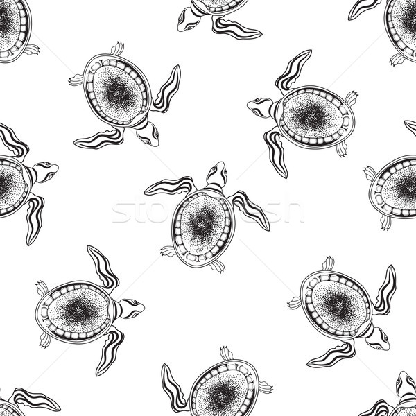 Turtle seamless pattern. Marine reptile swimming over white back Stock photo © Terriana