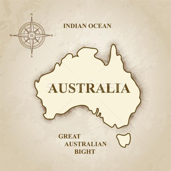 オーストラリア オーストラリア人 地図 レトロな 紙 世界中 ストックフォト © Terriana
