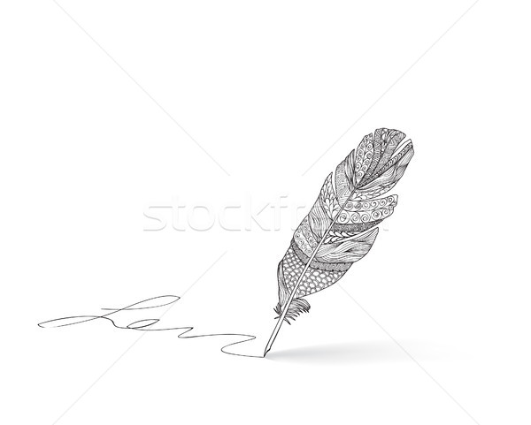 Feather pen icon. Calligraphy sign. Signature icon Stock photo © Terriana