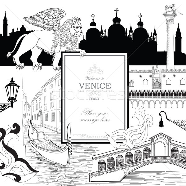 Venice city background. Tourist landmarks gondola and venetian carnival mask Stock photo © Terriana