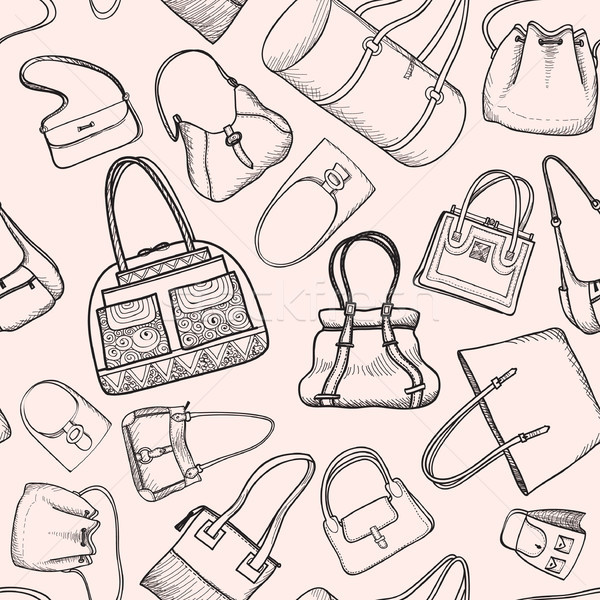 de14eddad5  9025257 Handbags seamless pattern. Fashion bag accessory background. by  Terriana Stock photo