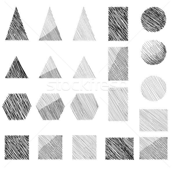 Geometric shape doodle sign set. Geometric figure collection Stock photo © Terriana