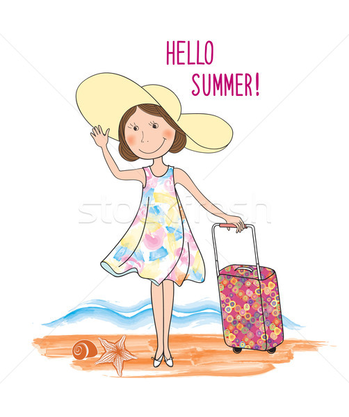 Summer travel card background lettering HELLO SUMMER, girl Stock photo © Terriana