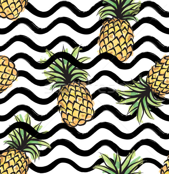 Abstract wave seamless pattern with pineapple. Stylish geometric Stock photo © Terriana