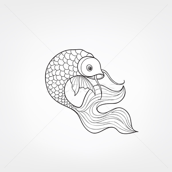 Vis geïsoleerd doodle lijn decoratief Stockfoto © Terriana
