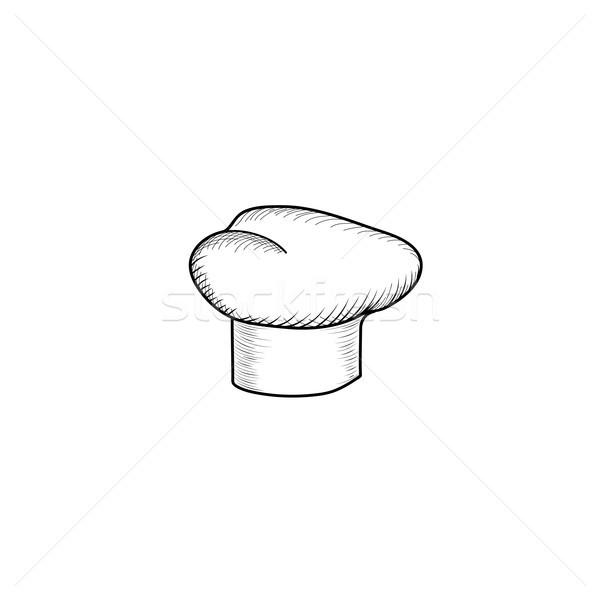 Szakács kalap rajzolt szakács vésés felirat Stock fotó © Terriana