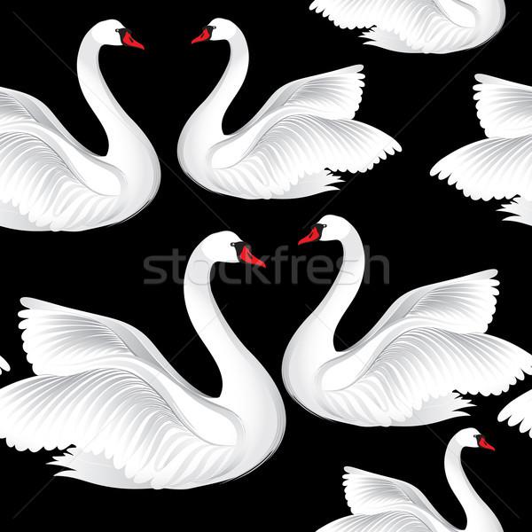 White birds seamless pattern. Wildlife background. Swimming swans Stock photo © Terriana