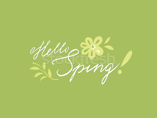 Hello spring card. Spring background with handwritten lettering  Stock photo © Terriana