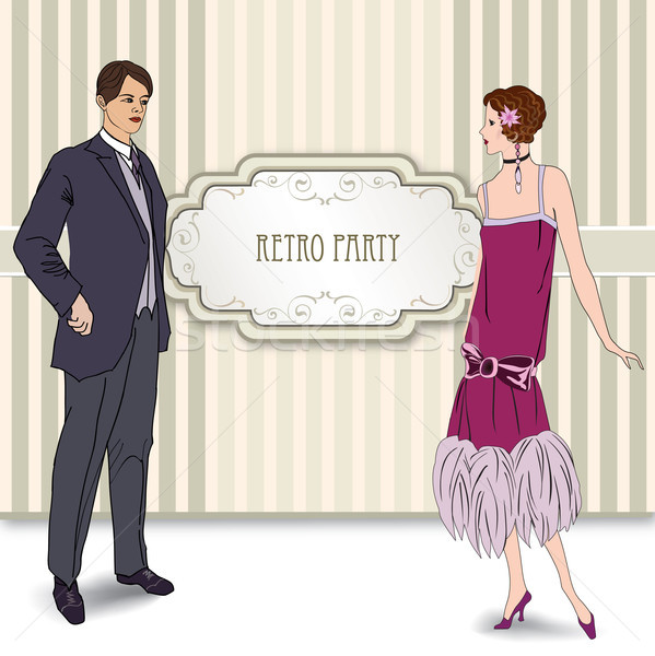 Retro fashion party card background. Man, woman in cocktail dress Stock photo © Terriana