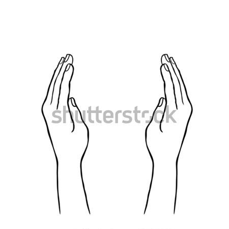 два рук рукой знак болван линия искусства Сток-фото © Terriana