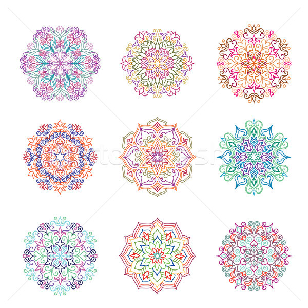 Abstract flower pattern. Mandala ornament. Floral oriental decor Stock photo © Terriana