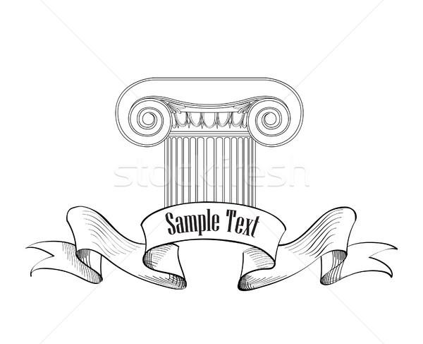 Classic architectural label. Roman ionic column sign. Stock photo © Terriana