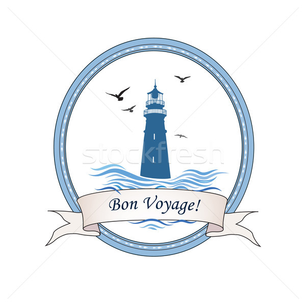 Lighthouse logo. Nautical icon with lighthouse, ocean waves, gull birds. Travel voyage card design Stock photo © Terriana