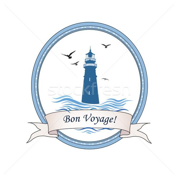 Latarni logo morski ikona ocean fale Zdjęcia stock © Terriana