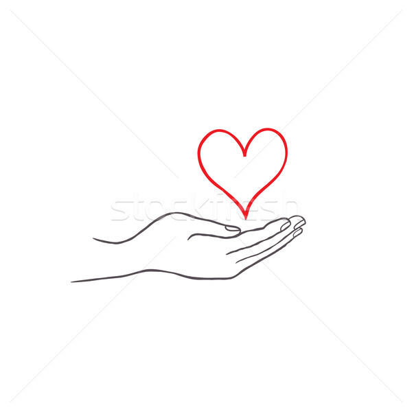 Love heart in your hand. Health care concept. Doodle line drawn  Stock photo © Terriana