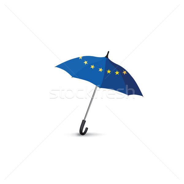 Euro union flag colored umbrella. Travel Europe fashion sign Stock photo © Terriana