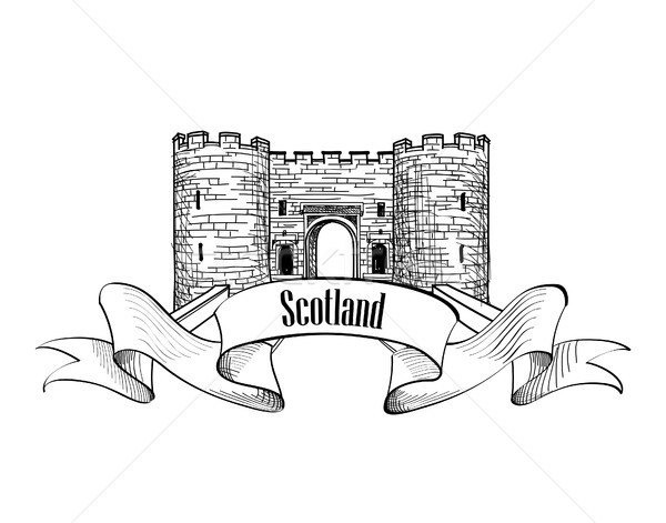 Travel Scotland sign. Scotch famous Stirling castle view Stock photo © Terriana