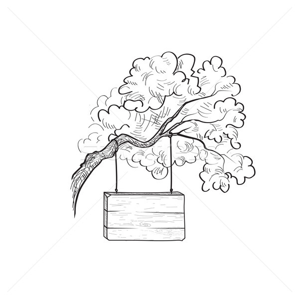 Signboard on tree branch. Doodle wooden sign. Plank signpost Stock photo © Terriana