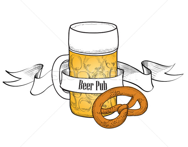 Beer Mug symbol. Full Beer Glass with snack. Beer bar banner Stock photo © Terriana