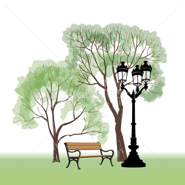 Stock photo: Bench in park with tree and streetlamp. City park landscape.
