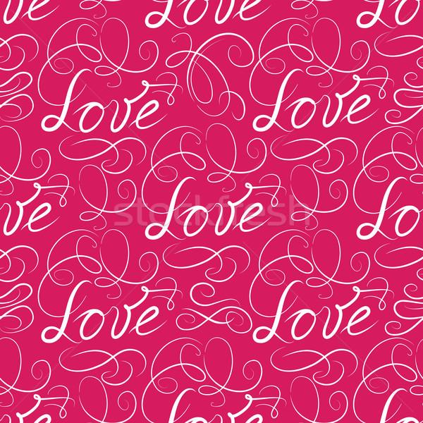 Love seamless pattern. Doodle ornamental calligraphic vignette b Stock photo © Terriana