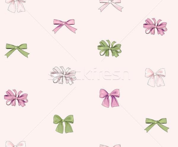 Bow seamless pattern. Girlish fashion white background. Holiday  Stock photo © Terriana