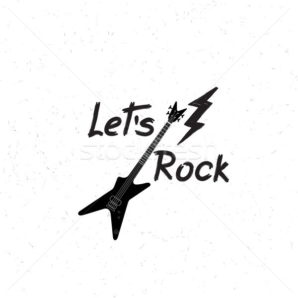 Rock music banner. Musical sign background. Let's rock lettering Stock photo © Terriana