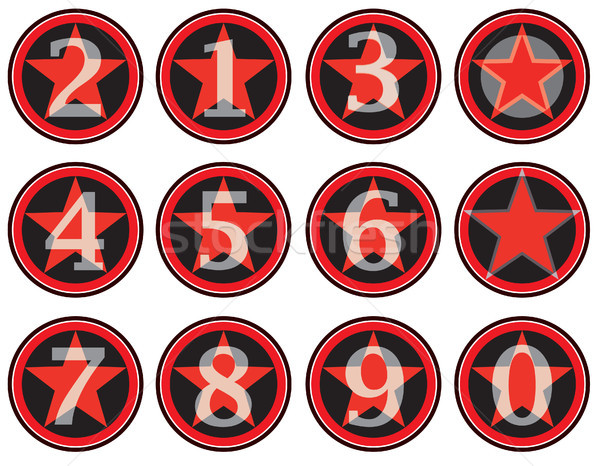Alphabet numbers retro style. American vintage finger sign for school education party design Stock photo © Terriana