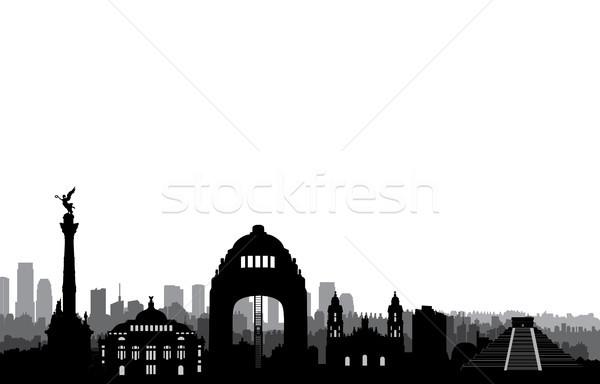 Mexikóváros sziluett városkép tájékozódási pont sziluett utazás Stock fotó © Terriana