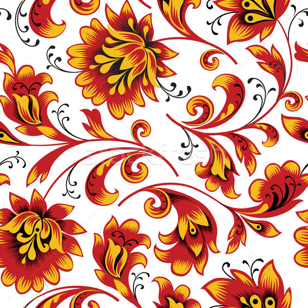 Floral seamless pattern. Flower background. Ornamental russian ethnic style Stock photo © Terriana