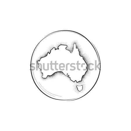 Austrália retro mapa assinar papel globo Foto stock © Terriana