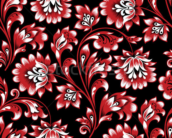 Floral seamless pattern. Flower swirl background. Ornamental brocade retro painting Stock photo © Terriana