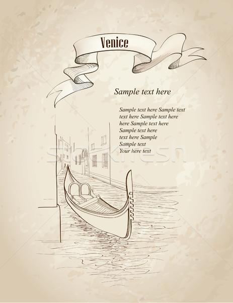 Stok fotoğraf: Venedik · Cityscape · eski · binalar · kanal · gondol