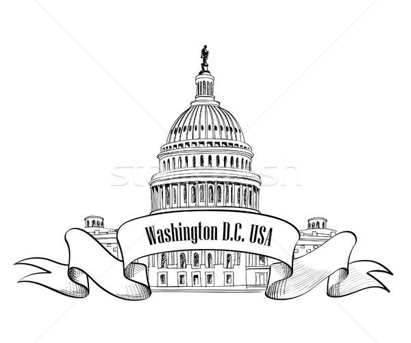 Washington DC symbol Stany Zjednoczone Capitol Hill kopuła wektora Zdjęcia stock © Terriana